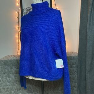 SO Cobalt Blue Cowl Neck Cropped Sweater, NWT
